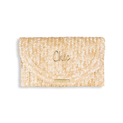 Katie Loxton Straw clutch bag with gold chic logo