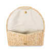Straw effect summer clutch with gold chic logo