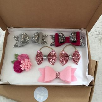 glitter bows silver, red, pink